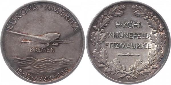 "Preußen Preuss. Staatsmünze 1928 - Silbermedaille Atlantikflug der ""Bremen"""