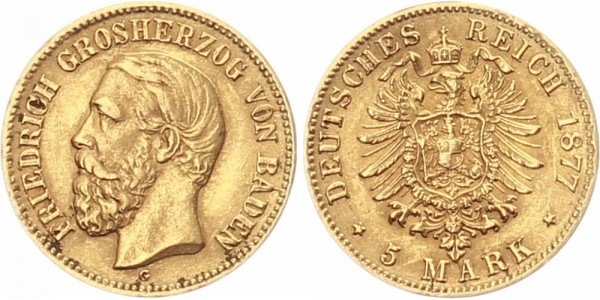 Baden 5 Mark 1877 G Friedrich I.