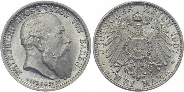 BADEN 2 Mark 1907 G Friedrich I.
