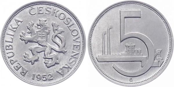 Tschechoslowakei 5 Kronen 1952 - Kursmünze