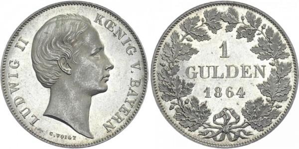 BAYERN 1 Gulden 1864 - Ludwig II.
