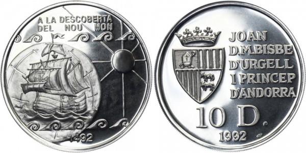 """ANDORRA 10 Diners 1992 - Segelschiff """"A la Descoberta del nou Mon"""""""