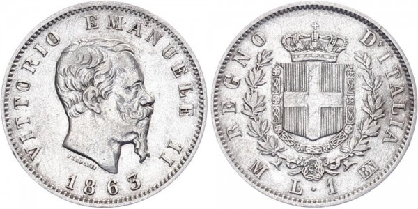 Italien 1 Lira 1863 - Kursmünze