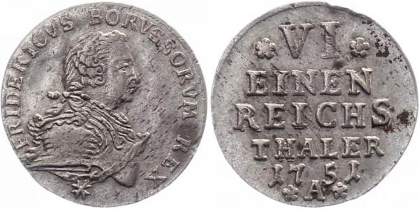 Brandenburg-Preussen 1/6 Reichstaler 1751 A Friedrich II
