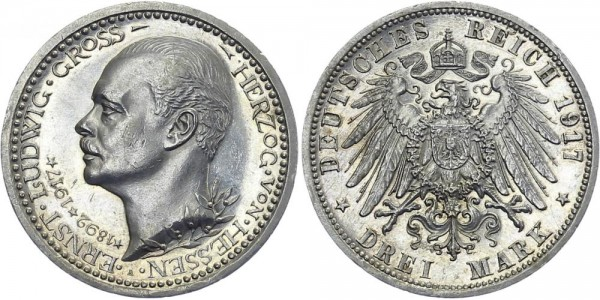 HESSEN 3 Mark 1917 A Ernst Ludwig Jubiläum