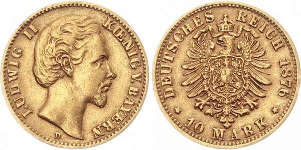 Bayern 10 Mark 1876 D Ludwig II.