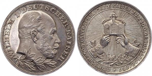 Preußen Medaille 1897 - Wilhelm I., 100. Geburtstag