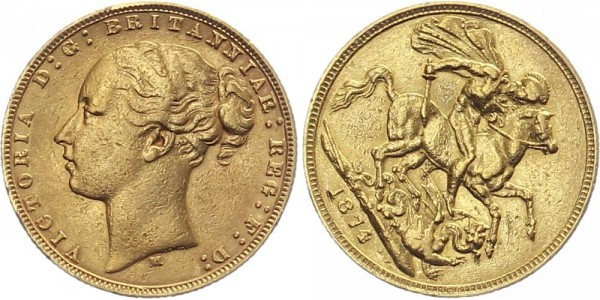 Großbritannien 1 Sovereign 1874 - Queen Victoria, Spempeldrehung