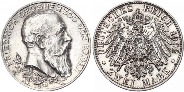 Baden 2 Mark 1902 - 50. Regierungsjubiläum von Großerzog Friedrich