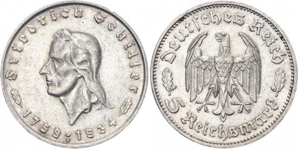 Drittes Reich 5 Reichsmark 1934 F Schiller