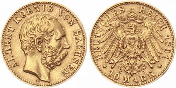Sachsen 10 Mark 1891 E König Albert von Sachsen
