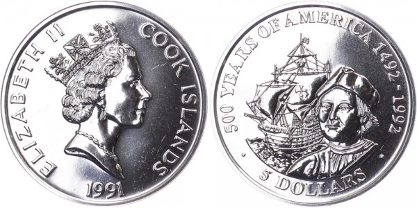Cook Islands 5 Dollar 1991 - 500 Jahre Amerika