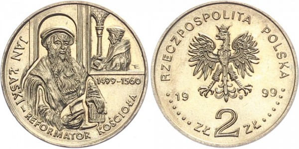 Polen 2 Złotych 1999 - 500. Geburtstag von Jan Laski