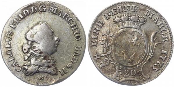Baden 20 Kreuzer 1773 H Karl Friedrich