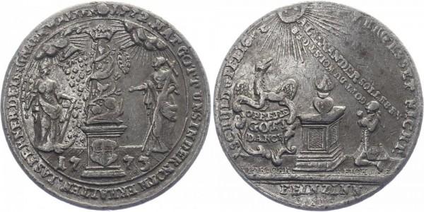 Brandenburg-Ansbach Medaille 1773 - Auf die Teuerung