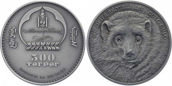 MONGOLEI 500 Tugrik Terper 2007 - Wildlife Protection Wölfin
