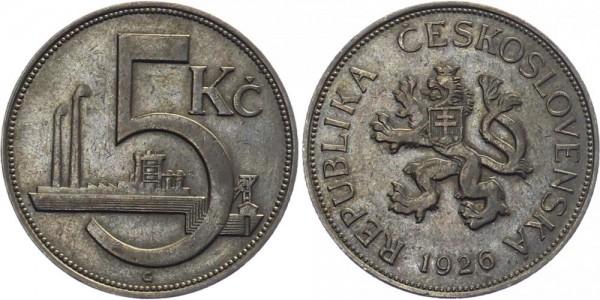 Tschechei 5 Kč 1926 - Kursmünze