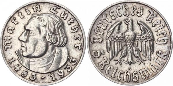 Drittes Reich 5 Reichsmark 1933 A Martin Luther