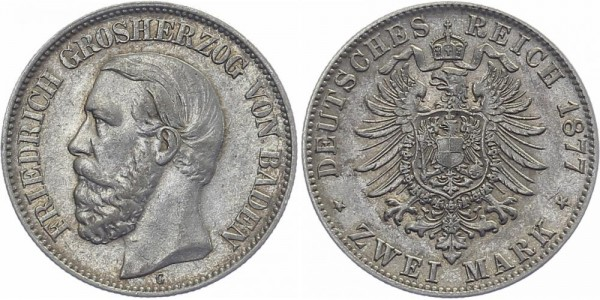 BADEN 2 Mark 1877 G Friedrich I.