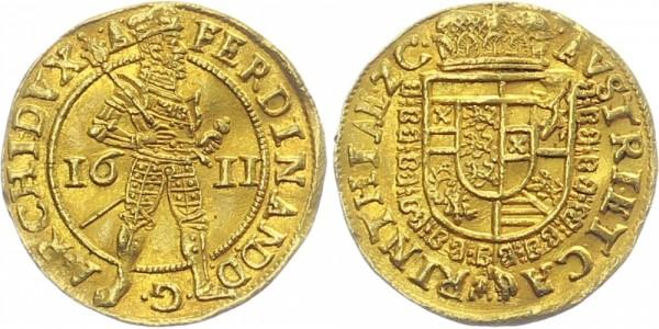 RÖMISCH DEUTSCHES REICH 1 Dukat 1611 Klagenfurt Ferdinand II. 1619-1637