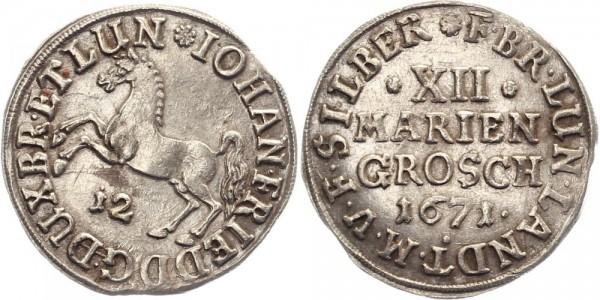 Braunschweig 12 Mariengroschen 1671 - Pferd