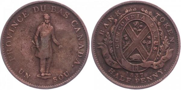 Kanada ½Penny 1837 - Province de bas Canada