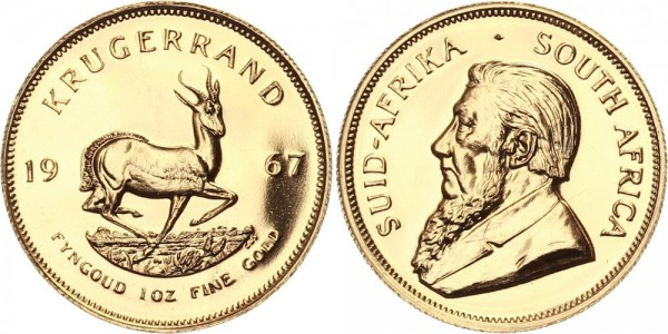 SÜDAFRIKA 1 Krügerrand 1967 - 1 oz GOLD