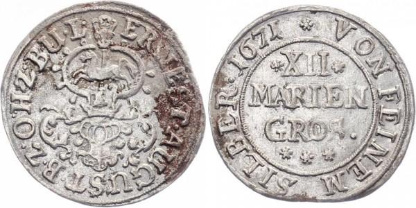 Osnabrück 12 Mariengroschen 1671 - Ernst August I