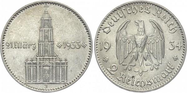 Drittes Reich 2 Mark 1934 J Garnisonskirche m. Datum