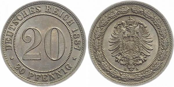 Kaiserreich 20 Pfennig 1887 A Kursmünze