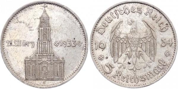Drittes Reich 5 Mark 1934 J Garnisonskirche m. Datum