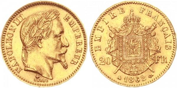 Frankreich 20 Francs 1862 - Napoleon III.